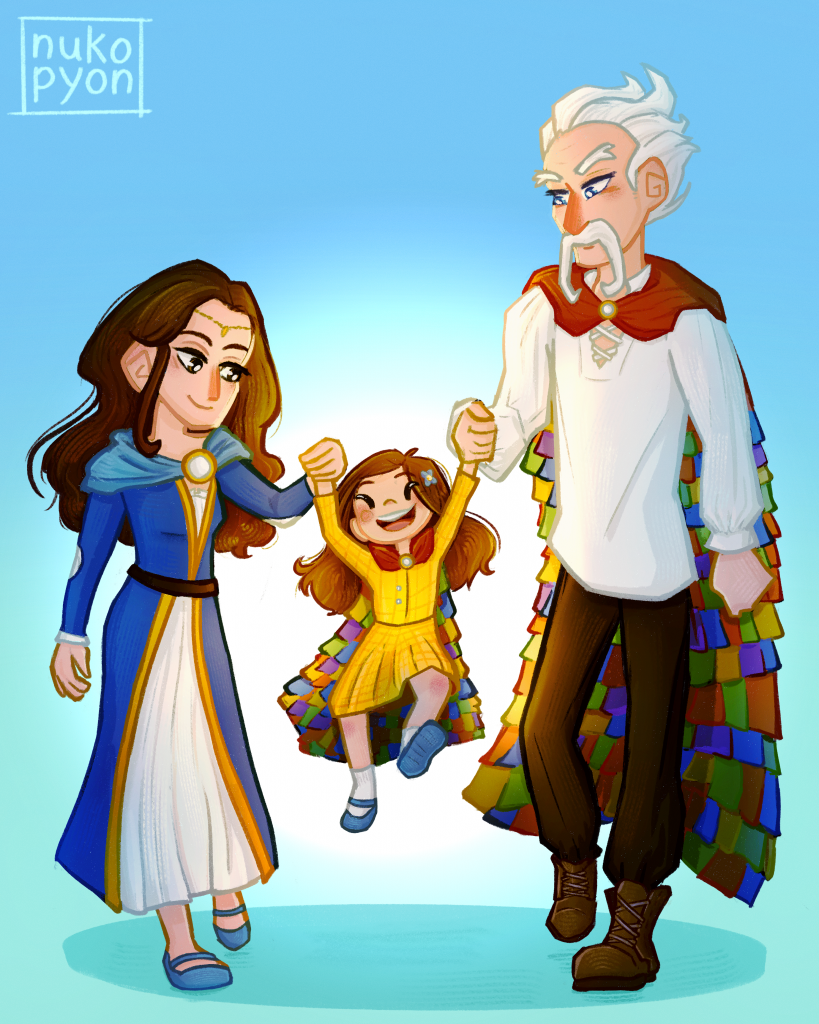 Moiraine and Thom and babby